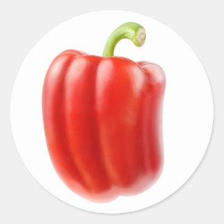 Red bell pepper classic round sticker