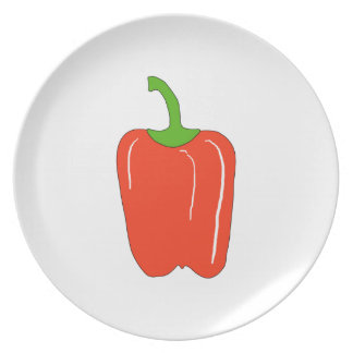 Red Bell Pepper. Whole. Plate