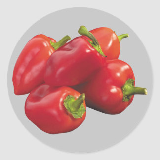 Red Bell Peppers Classic Round Sticker