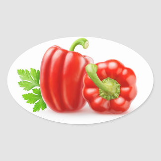 Red bell peppers oval sticker