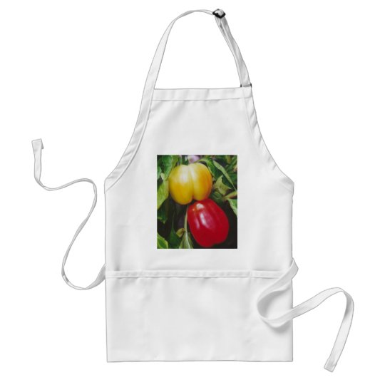 Red Bell Peppers Ripen on Plant with Leaves Adult Apron