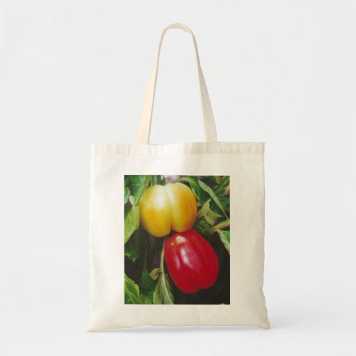 Red Bell Peppers Ripen on Plant with Leaves Budget Tote Bag