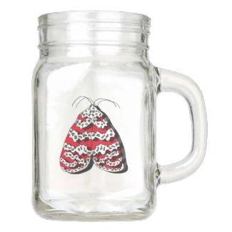 Red Bella Moth on Mason Jar