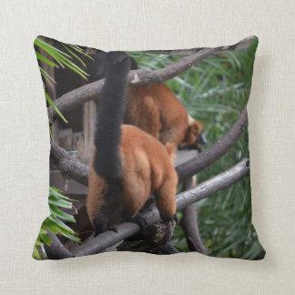 Red Bellied Lemur Butt walking Throw Pillow