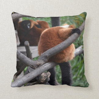 Red Bellied Lemur Hanging on back view Throw Pillow