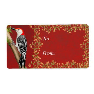 Red Bellied Woodpecker Holiday Gift Label Shipping Label