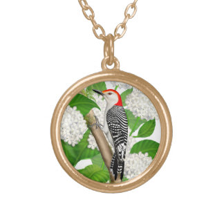 Red Bellied Woodpecker in Hydrangeas Necklace