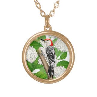 Red Bellied Woodpecker in Hydrangeas Necklace