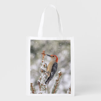 Red-bellied Woodpecker in the snow Reusable Grocery Bag