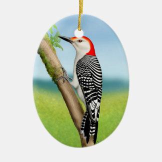 Red Bellied Woodpecker on Branch Ornament