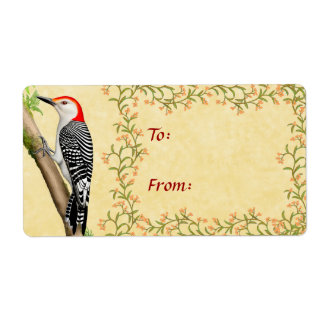 Red Bellied Woodpecker Parchment Gift Label Shipping Label