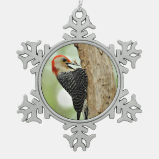 Red-Bellied Woodpecker Snowflake Pewter Christmas Ornament