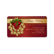 Red Bells Gold Holly Red Christmas Address Labels label