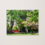 Red Bench by Pink Tree Jigsaw Puzzle