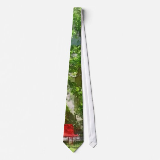 Red Bench by Pink Tree Neck Tie