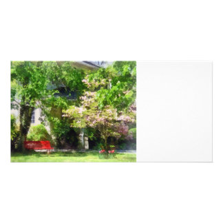 Red Bench by Pink Tree Personalized Photo Card