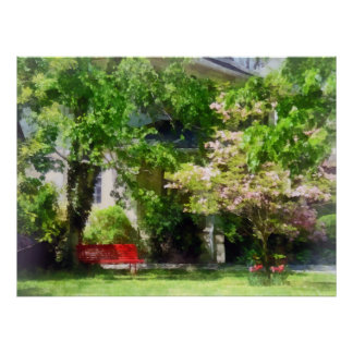 Red Bench by Pink Tree Poster