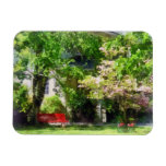 Red Bench by Pink Tree Rectangle Magnets