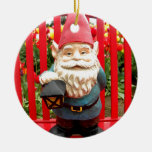 Red Bench Double-Sided Ceramic Round Christmas Ornament