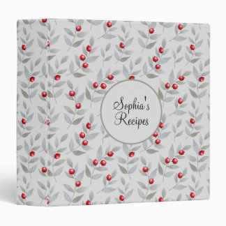 Red Berries and Gray Leaves Custom Recipe Binder
