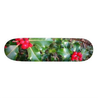 Red berries and holly skateboard