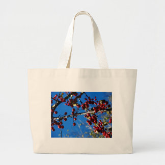 Red Berries And The Blue Sky... Jumbo Tote Bag
