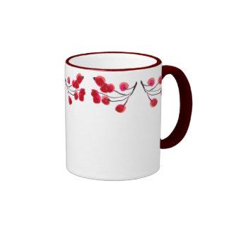 RED BERRIES by SHARON SHARPE Ringer Mug