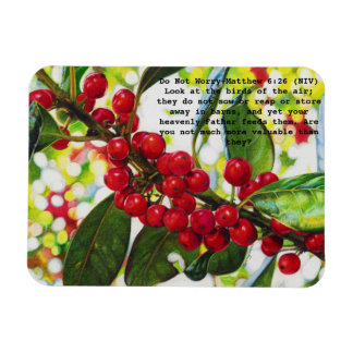 Red Berries color pencil art print on magnet