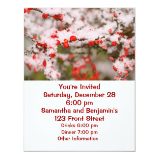 Red Berries Covered in Snow 4.25x5.5 Paper Invitation Card