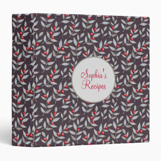 Red Berries Gray Leaves Black Custom Recipe Binder