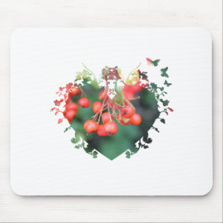 red berries,green,heart shape frame, 浆 果 mouse pad