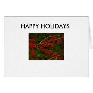 Red Berries, HAPPY HOLIDAYS Card
