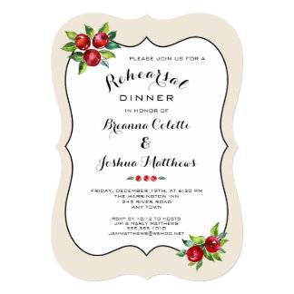 Red Berries Holiday Rehearsal Dinner Invitation