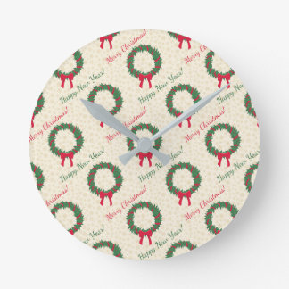 Red Berries Holly Merry Christmas Round Clock
