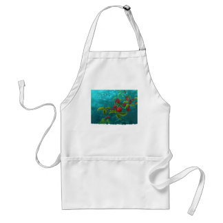 Red Berries in Green Background Adult Apron