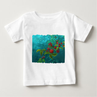 Red Berries in Green Background Baby T-Shirt