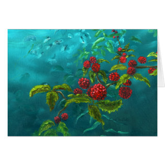 Red Berries in Green Background Card