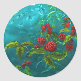 Red Berries in Green Background Classic Round Sticker