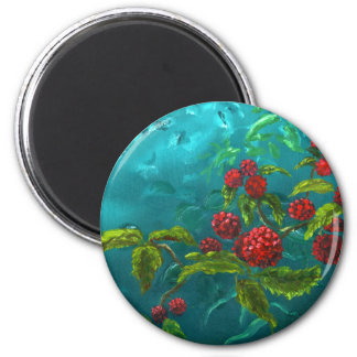 Red Berries in Green Background Magnet