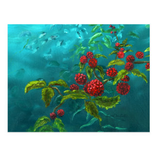 Red Berries in Green Background Postcard
