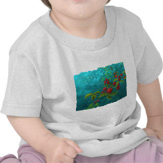 Red Berries in Green Background T-shirts