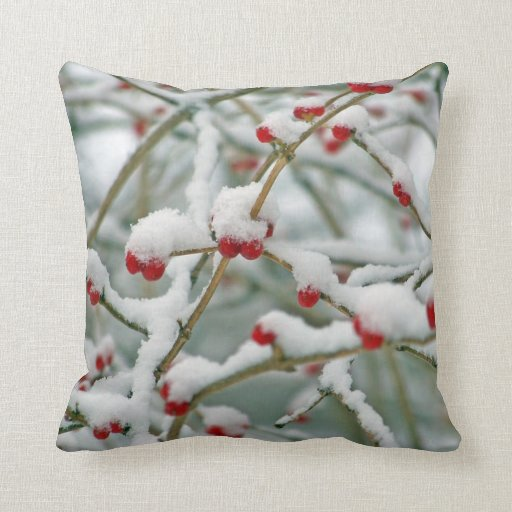 Red Berries in the Snow winter scene Throw Pillow