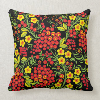 Red Berries Khokhloma Throw Pillow