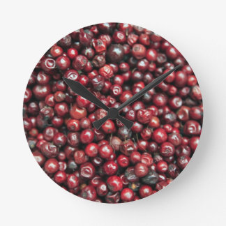 Red berries of the Himalayas Round Clock