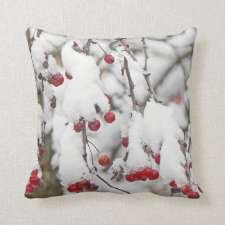 """RED BERRIES ON TREE BRANCHES WITH SNOW"" THROW PILLOW"