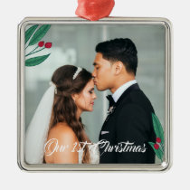 Red Berries - Our First Christmas - Wedding Photo Metal Ornament