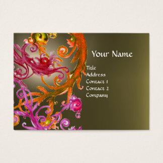 RED BERRIES SWIRLS GEMSTONE grey Business Card