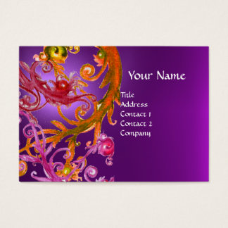 RED BERRIES SWIRLS GEMSTONE purple Business Card