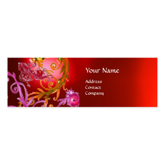 RED BERRIES SWIRLS GEMSTONE red Double-Sided Mini Business Cards (Pack Of 20)