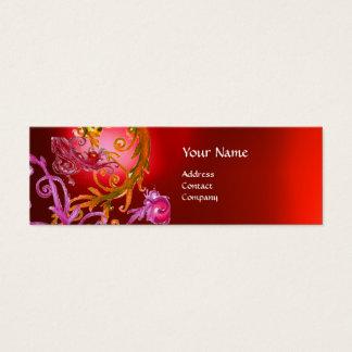 RED BERRIES SWIRLS GEMSTONE red Mini Business Card